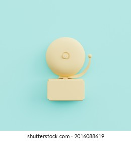 minimalistic beige school bell on pastel blue background in concept of education, back to school and study time. 3d render