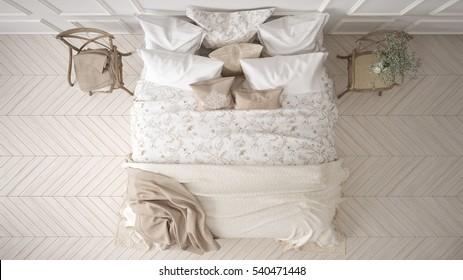 Minimalistic classic bedroom, top view, white interior design, 3d illustration