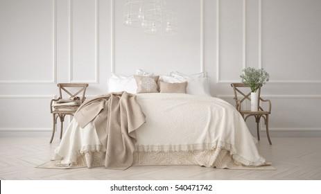 Minimalistic classic bedroom, white interior design, 3d illustration
