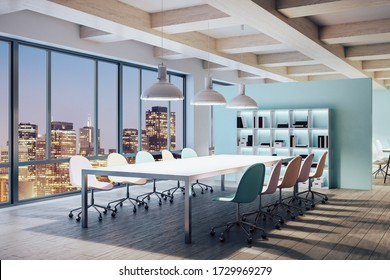 Minimalistic conference interior with furniture and night city view. Workplace and company concept. 3D Rendering