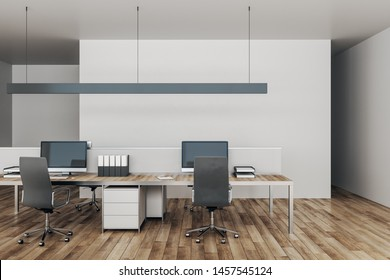 Minimalistic coworking office interior with furniture and daylight. Workplace concept. 3D Rendering