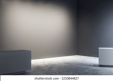 Minimalistic exhibition hall interior with copy space, empty billboard on wall. Gallery concept. Mock up, 3D Rendering