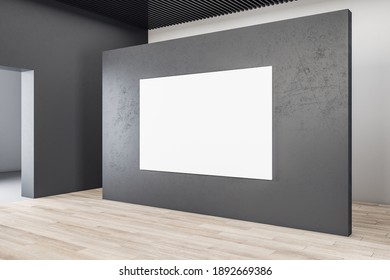 Minimalistic exhibition interior with blank banner on concrete wall. Presentation concept. Mock up. 3D Rendering