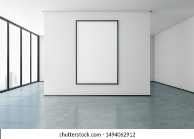 Minimalistic gallery with city view and empty poster on concrete wall. Museum concept. Mock up, 3D Rendering