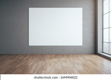 Minimalistic gallery interior with blank poster on wall and megapolis city view. Performance and presentation concept. 3D Rendering
