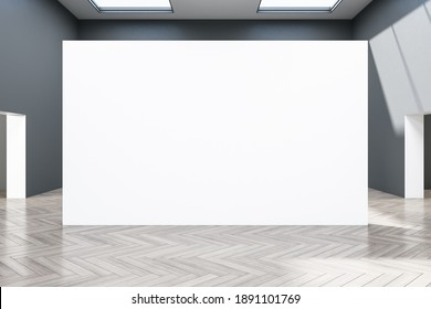 Minimalistic gallery interior with empty concrete wall. Museum concept. Mock up, 3D Rendering