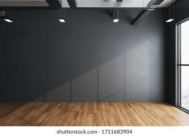 Interior minimalista en el vestíbulo con paredes grises vacías, vista a la ciudad y luz del día. Concepto de galería y presentación. Montaje, representación 3D