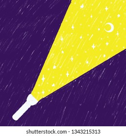 Minimalistic illustration for children, torchlight shining in the night dark to show the sky, moon and stars.