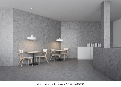 Minimalistic industrial style bar interior with concrete walls and floor, concrete bar counter and wooden square tables with chairs. 3d rendering