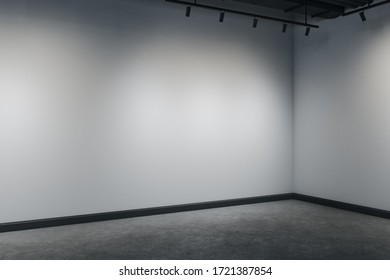 Minimalistic interior with corner, ceiling lamp and copy space on gray wall. Gallery concept. Mock up, 3D Rendering