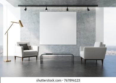 Minimalistic living room interior with gray walls, large windows, white armchairs and a square poster above a coffee table. 3d rendering mock up