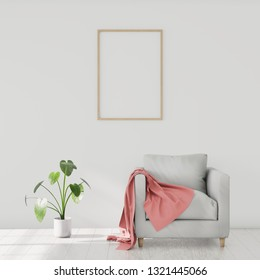 Minimalistic modern interior with an armchair and a plaid, poster mockup for your design. You can use this mockup to display your artwork. 3D render.