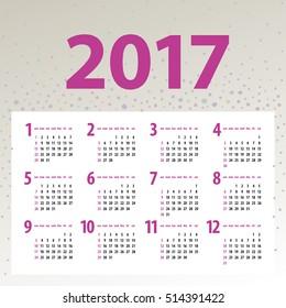 minimalistic multicolor 2017 calendar design on light background - week starts with sunday