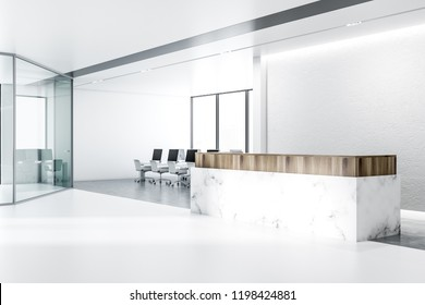 Minimalistic office interior with white walls, concrete floor with rows of massive white tables with black computer screens and panoramic windows. Marble and wooden reception counter. 3d rendering