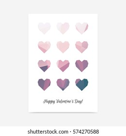 Minimalistic tender Saint Valentine's Day poster background with polygonal hearts