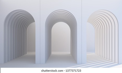 Minimalistic, white arch hallway architectural corridor with empty wall. 3d render, minimal.