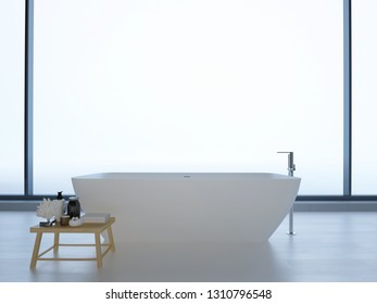 minimalistic white bathroom. 3d rendering