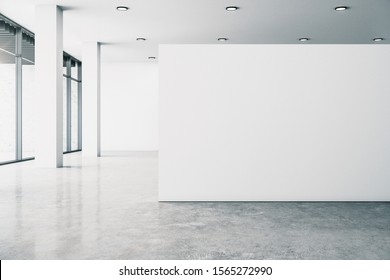 Minimalistic white gallery interior with empty copyspace, city view and daylight. Concrete floor. Mock up, 3D Rendering