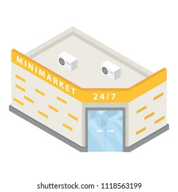 Minimarket building icon. Isometric of minimarket building icon for web design isolated on white background
