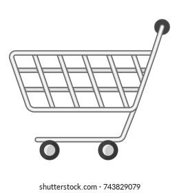 Minimarket shopping cart icon. Cartoon illustration of minimarket shopping cart  icon for web design