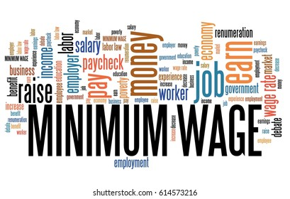 Minimum wage - pay regulations by government. Career concept word cloud.