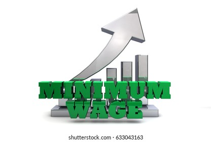 Minimum Wage Rising - Economic Policy - 3D Illustration