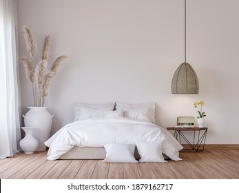 Mininal contemporary style bedroom 3d render,There are wooden floor decorate with white fabric bed set and big white jar with dry reed flower.