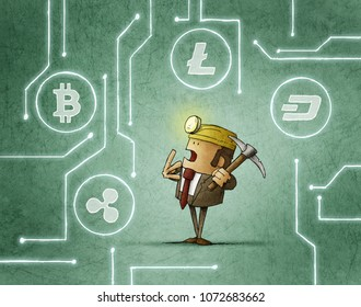 mining businessman is deciding what kind of cryptocurrency to catch
