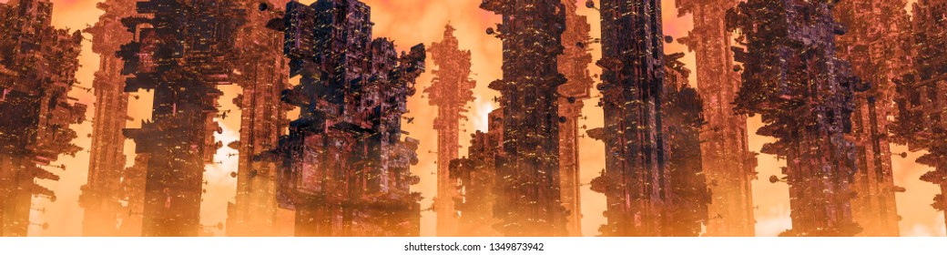 Mining colony city panorama / 3D illustration of dark futuristic science fiction city on hot desert planet
