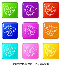 Mining cutting wheel icons set 9 color collection isolated on white for any design