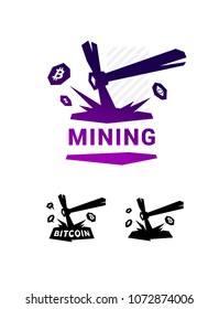 Mining logo, bitcoin mining. Metal pickax extracting crypto currency.  Logo for company isolated on white background. Brand of the company. Emblem on the miners.