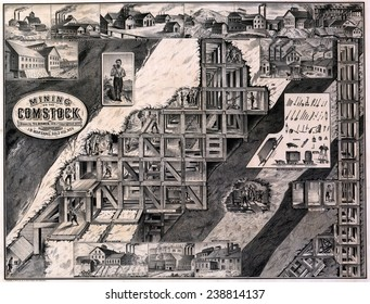 Mining on the Comstock, cutaway of hillside tunnels, supports, shafts and miners, as well as exterior views of several mining companies working the Comstock Lode, lithograph by Le Count Bro's, 1876