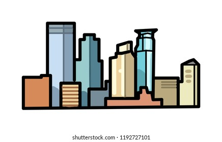 Minneapolis Skyline - simple cartoon graphic icon