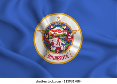 Minnesota 3D waving flag illustration. Texture can be used as background.