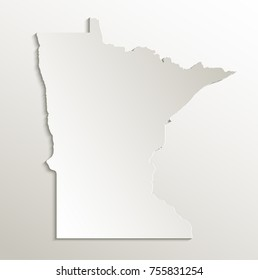 Minnesota map card paper 3D natural raster
