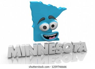 Minnesota MN State Map Cartoon Face Word 3d Illustration