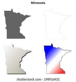Minnesota outline map set - jpg version