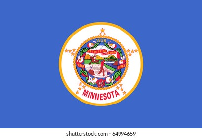 Minnesota state flag of America, isolated on white background.