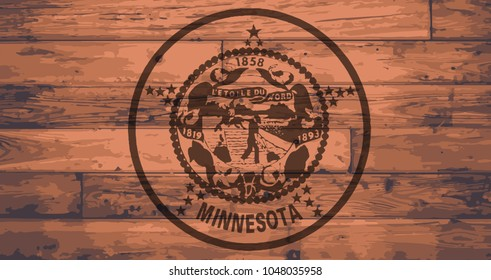 Minnesota State Flag branded onto wooden planks