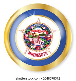 Minnesota state flag button with a gold metal circular border over a white background