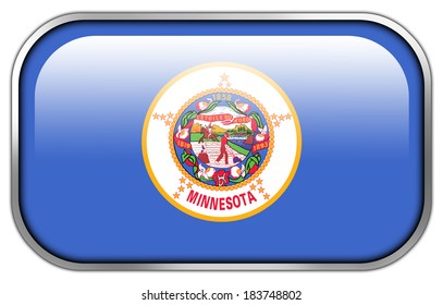 Minnesota State Flag rectangle glossy button