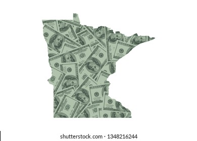Minnesota State Map and Money Concept, Hundred Dollar Bills