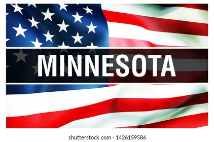 Minnesota state on a USA flag background, 3D rendering. United States of America flag waving in the wind. Proud American Flag Waving, US Minnesota state . US symbol and American Minnesota background