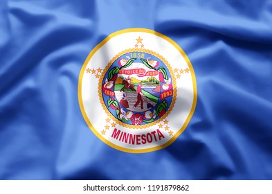Minnesota stylish waving and closeup flag illustration. Perfect for background or texture purposes.