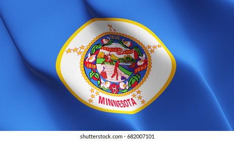 Minnesota United States of America State flag waving on wind.