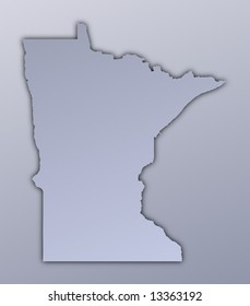 Minnesota (USA) map filled with metallic gradient. Mercator projection.