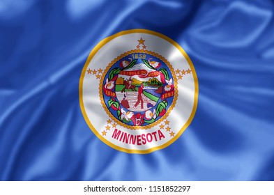 Minnesota waving and closeup flag illustration. Perfect for background or texture purposes.