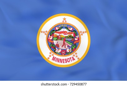 Minnesota waving flag. Minnesota state flag background texture. Raster copy.