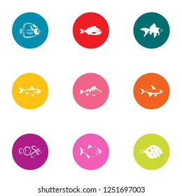 Minnow icons set. Flat set of 9 minnow icons for web isolated on white background