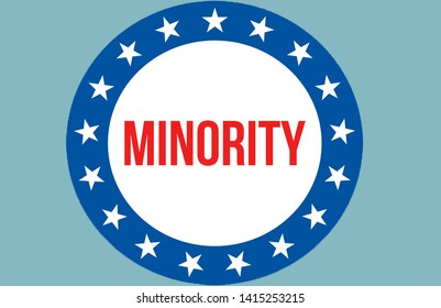 minority election on a USA background, 3D rendering. United States of America flag waving in the wind. Voting, Freedom Democracy, minority concept. US Presidential election banner